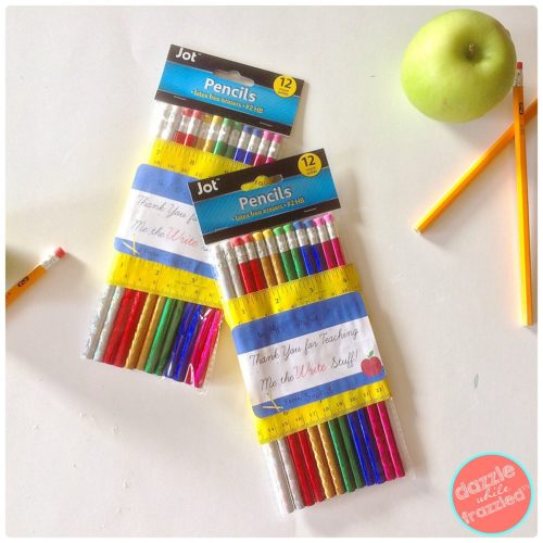 "DIY Easy and Cheap Pencil Pack Gift for Teacher Appreciation with Free ""Write Stuff"" Printable 