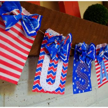 DIY USA Patriotic Banner Using Paper Goodie Bags
