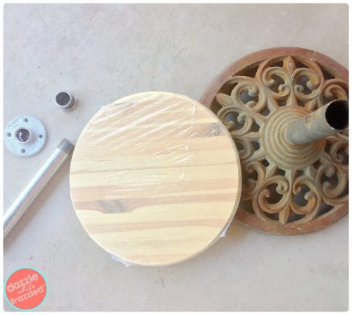 Diy umbrella stand into an easy patio side table turn a metal umbrella stand into an outdoor patio side table dazzle while frazzled solutioingenieria Image collections