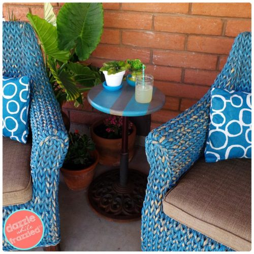 Turn a metal umbrella stand into an outdoor patio side table | Dazzle While Frazzled.com