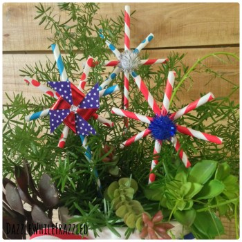 Fun and crafty patriotic July 4th star decorations from paper drinking stars.