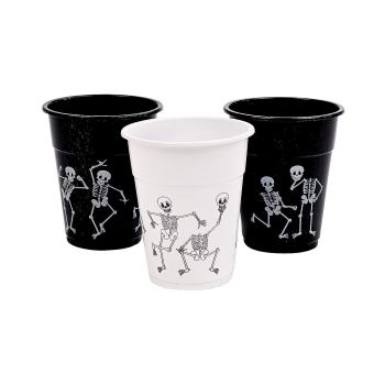Plastic white and black skeleton party cups for Halloween parties you can buy on Amazon.