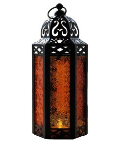 Stylish yet spooky Halloween home decor with amber glass Moroccan candle lantern to buy on Amazon.