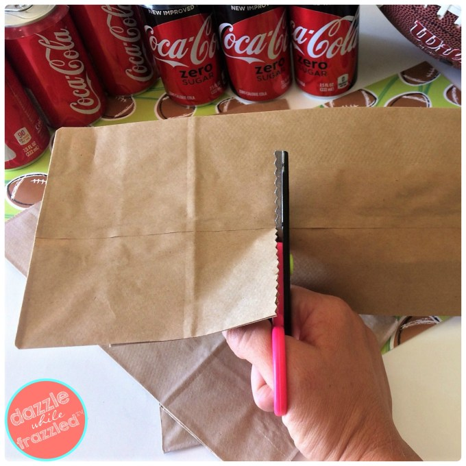 DIY football paper bag snack bags and home tailgating tips | DazzleWhileFrazzled.com