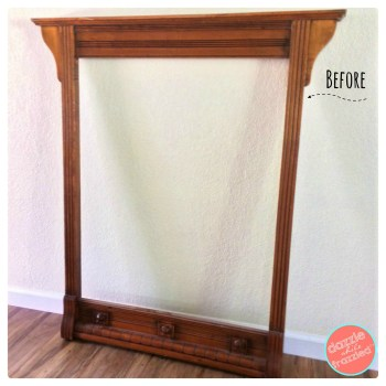 Use a dresser mirror frame as large wall art | DazzleWhileFrazzled.com