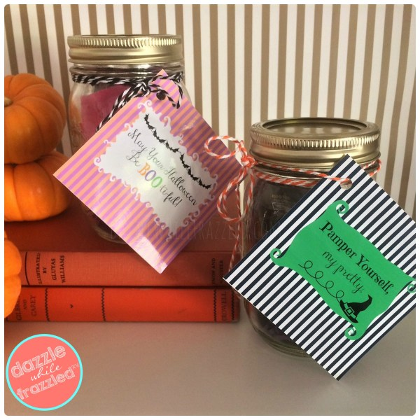 DIY 10-minute Halloween mason jar beauty gift with BOO-ti-ful printable gift tags.
