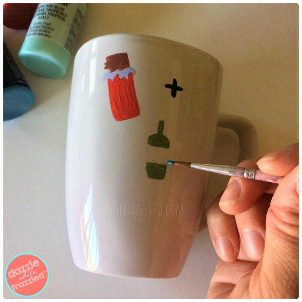 Hand painted coffee mug with acrylic paints oil based Sharpies for handmade gift idea