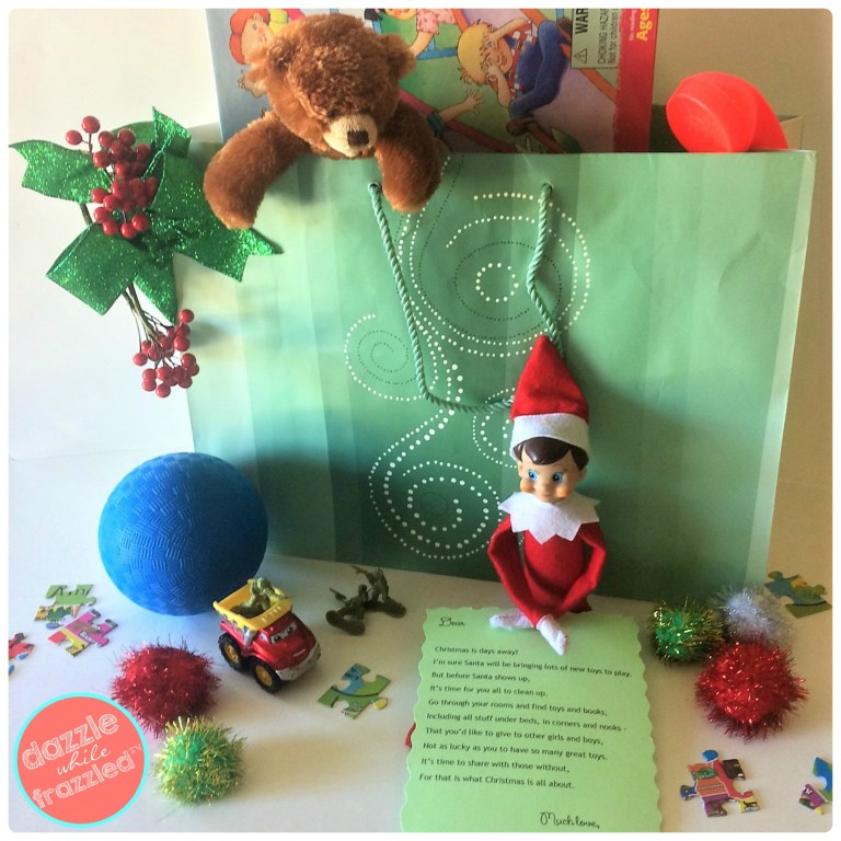 Free personalized note from Santa or Elf on the Shelf to get kids to do a pre-Christmas toy declutter.