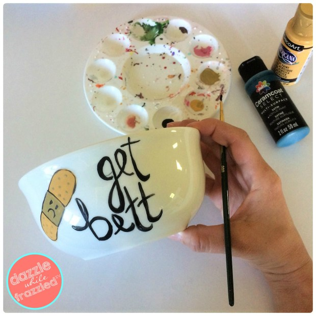 Use craft acrylic paints or Sharpie markers to make a painted soup bowl. Perfect to include in a DIY get well soon care package