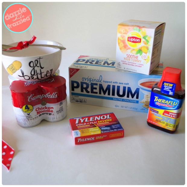 Campbell's soups, Liptons Soothe Your Tummy tea, Theraflu Express Max and Tylenol Cold Relief for an easy DIY get well soon gift basket