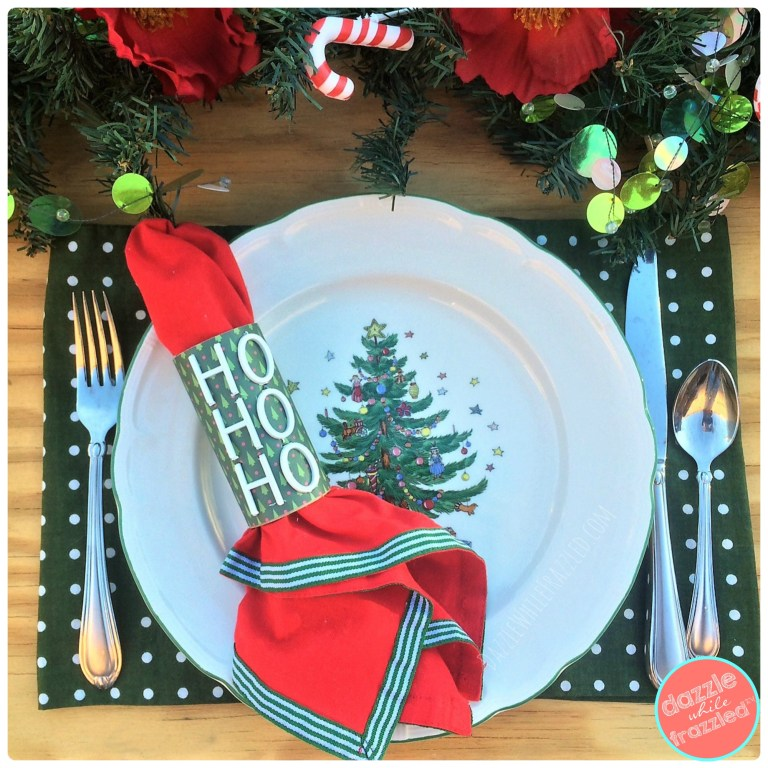 DIY HO HO HO Christmas letterboard message board paper napkin rings
