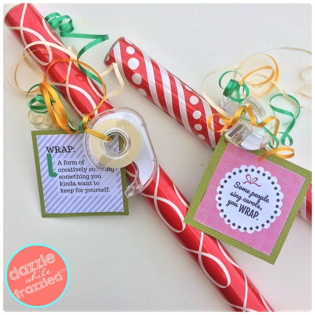 Wrapping paper gift with printable Christmas and fun everyday gift tags