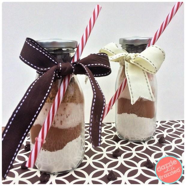 Milk and cookie mix in a jar gift idea. Wrap with bow for easy gift idea.