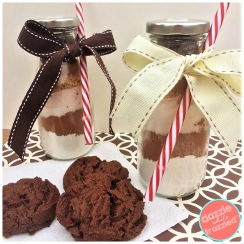 Double Chocolate Almond Cookies in milk jug recipe in a jar