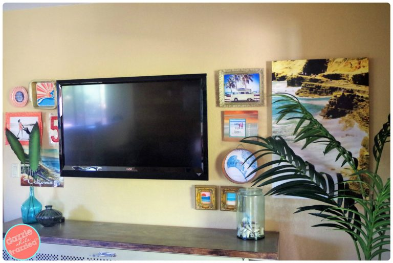 How to decorate a gallery wall around a TV. DIY beach themed gallery feature wall ideas around a television