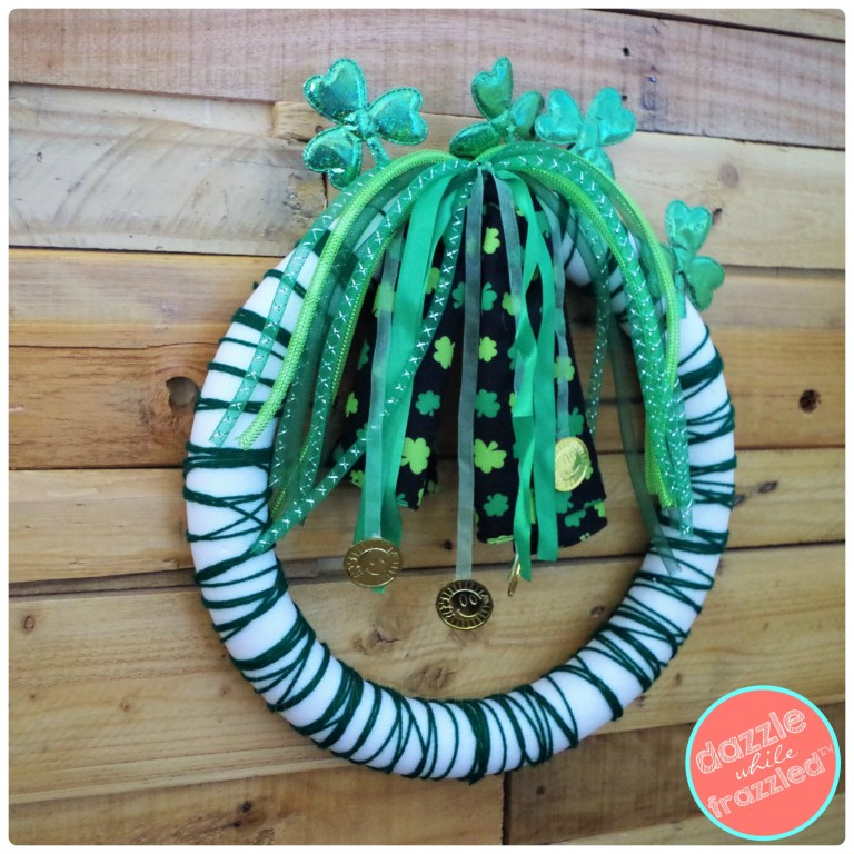 How to use dollar store shamrock ribbon streamer headbands for DIY St. Patrick's Day wreath for Irish home decor