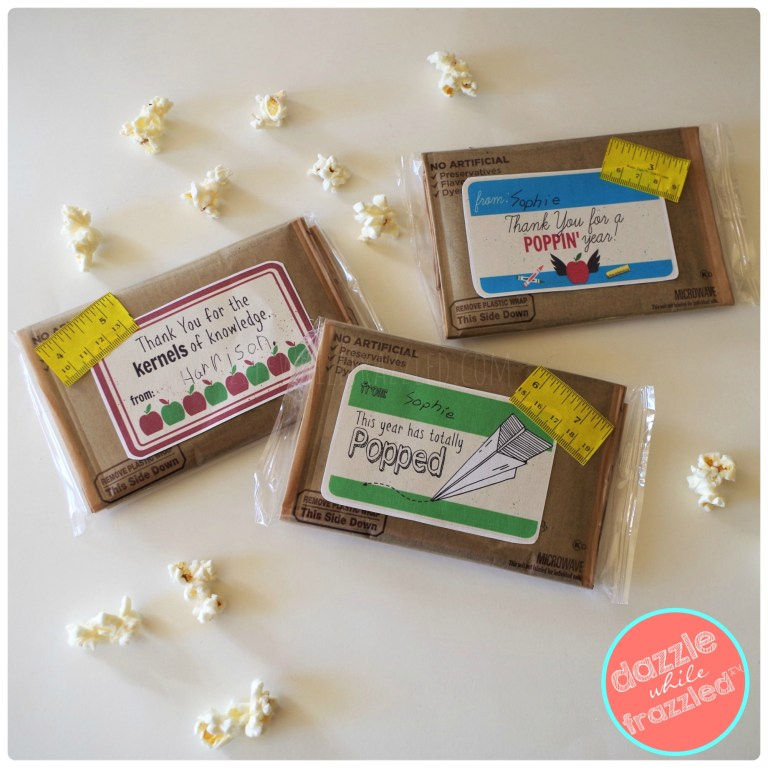 Easy 2-minute teacher appreciation gift using microwave popcorn bags and free printable gift tags for kids to sign and give to teachers for end of school year gift.