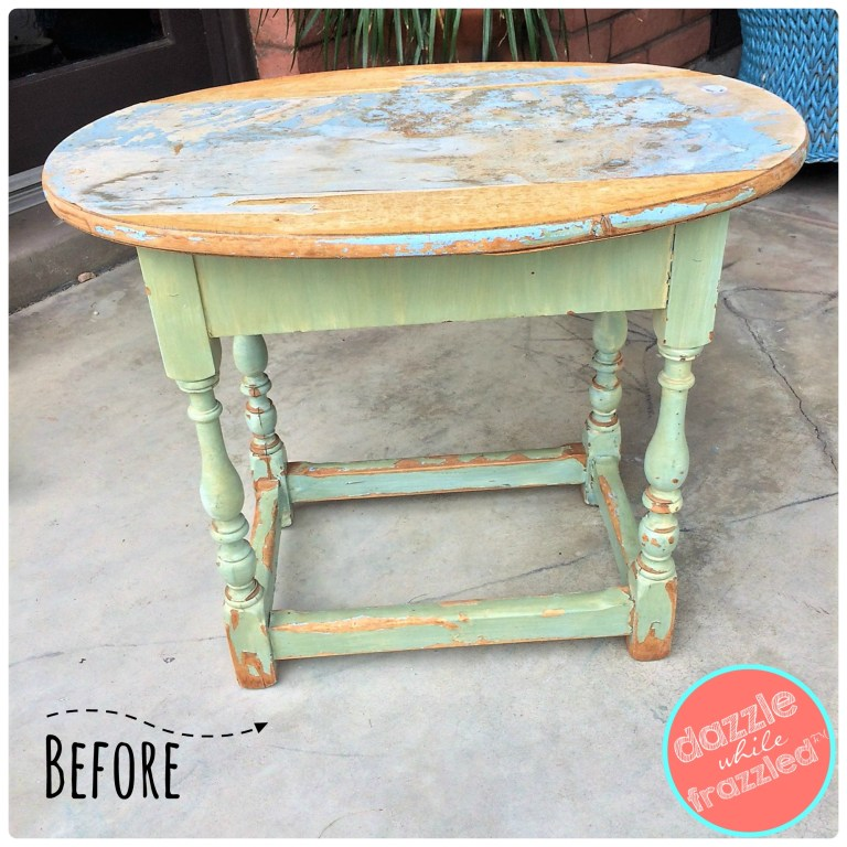 Flea market side table turned girls bedroom vanity table.