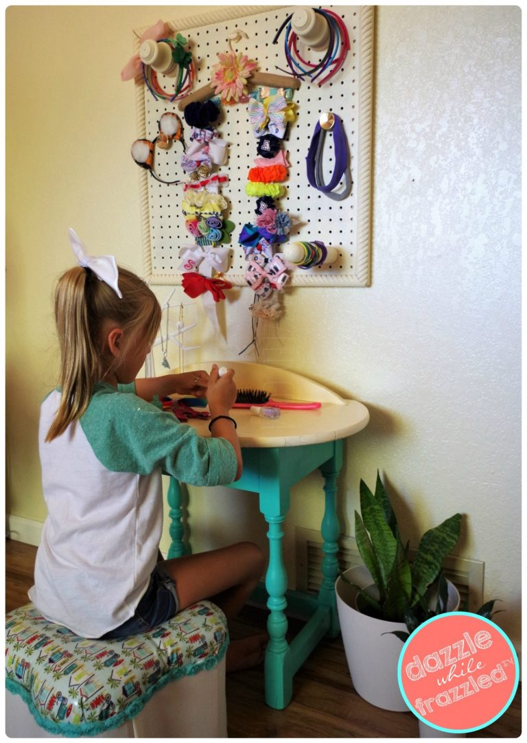 Give your daughter her own bedroom beauty station with DIY vanity table and hair accessory organizer.