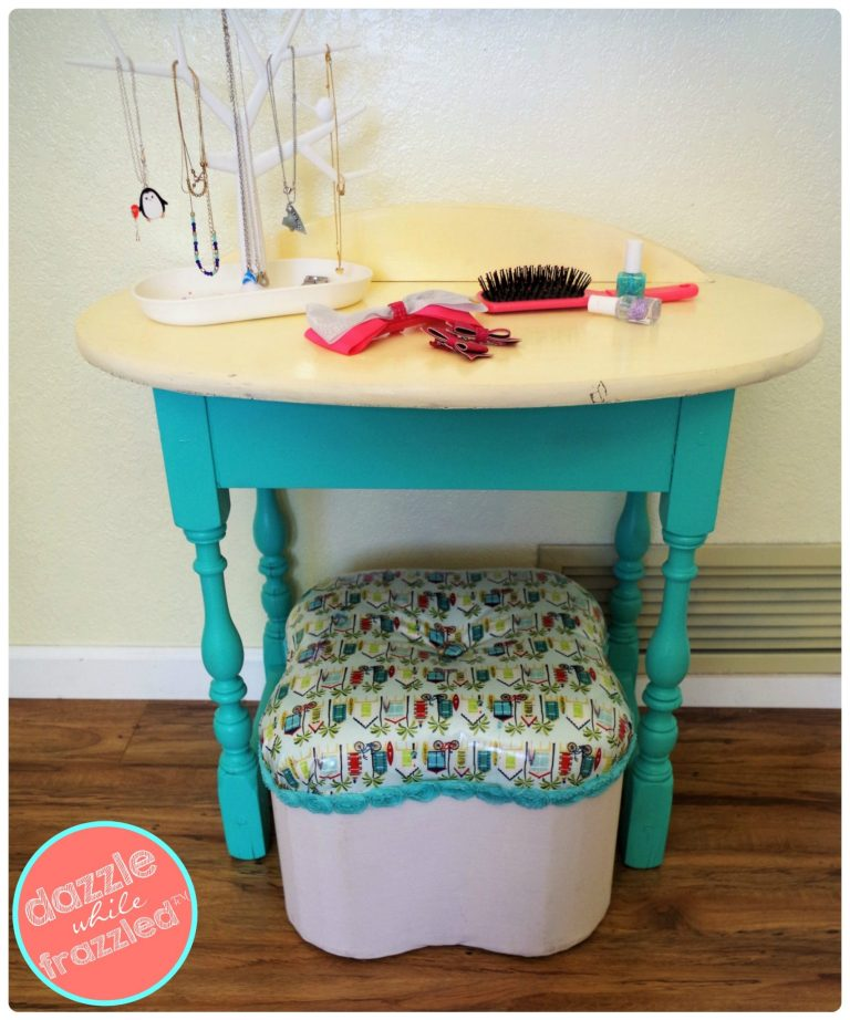 DIY side table turned girls bedroom vanity makeup station.