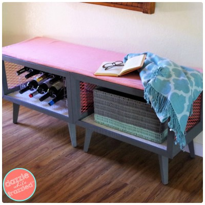 Create a drop zone by turning two old tables into a storage and seating bench.