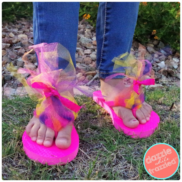 DIY troll hair flip flops that kids can make in 3 easy and fast steps using mesh fabric and ribbon.