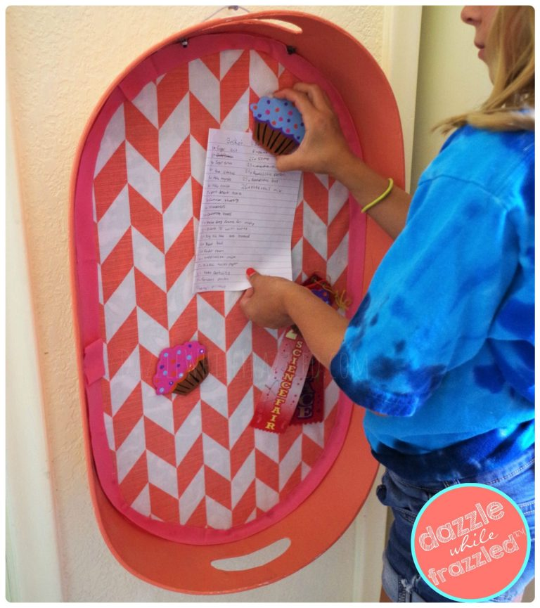 Decorate a kids bedroom with DIY magnet board from re-purposed metal serving tray.