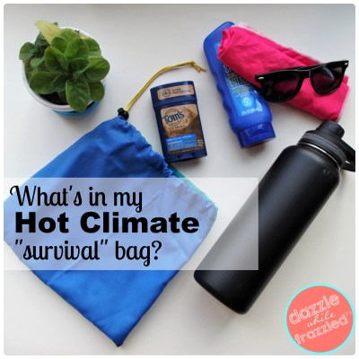 Ideas for creating a hot climate survival kit for car, travel or the gym.