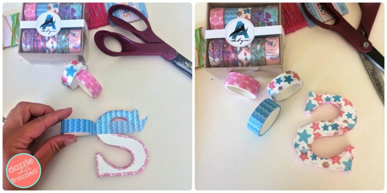 Use washi tape to cover a small initial letter for a DIY backpack or purse charm. Great back to school craft for kids!