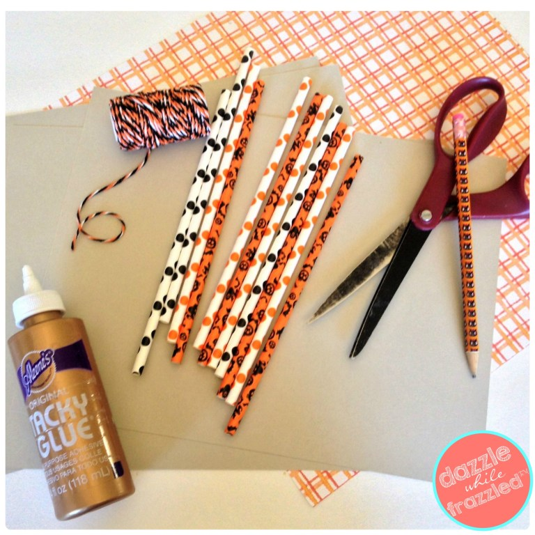 Make a BOO and EEK Halloween sign using paper party straws, tacky craft glue and cardstock.