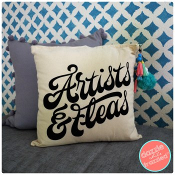 "Turn a thrift store ""Artists and Fleas"" tote bag from Venice Beach LA into a DIY home decor pillow."
