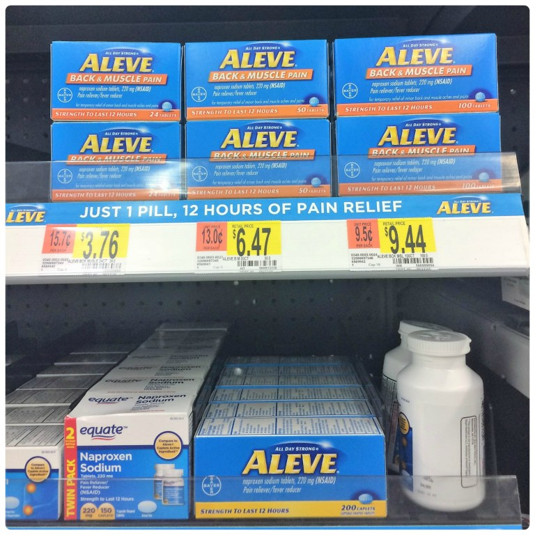 Find Aleve Back and Muscle Pain at Walmart in the pain relief aisle.