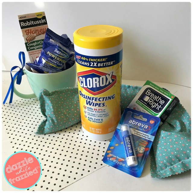 Beat the cold and flu season with DIY rice hot/cold pad, Clorox Wipes, Theraflu Power Pods, Robitussin Honey Cough, Breathe Right strips and Abreva cold sore relief.