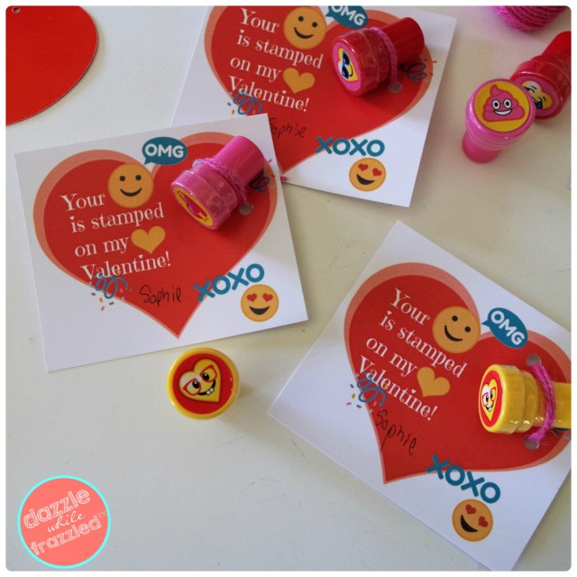 """Your Face Is Stamped On My Heart"" emoji mini stamper kids Valentine's Day card printable."