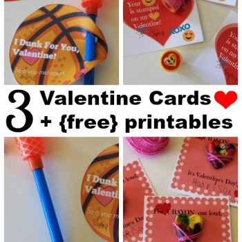 Fun printable basketball, emoji and heart crayon Valentine's Day cards for kids classroom card exchange.