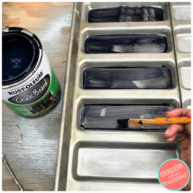 Use chalkboard paint to turn old metal hot dog bun tray into motivational word of the year chalkboard sign for home.