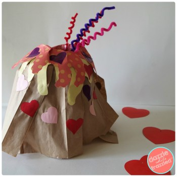Easy and cute! Kids lava of love volcano Valentine's Day card box holder.