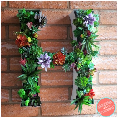How to turn a large marquee letter into a succulent planter for wall.