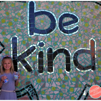 Easy ways to teach kids kindness with Box Tops for Education. Be Kind mural with Ben's Bells.