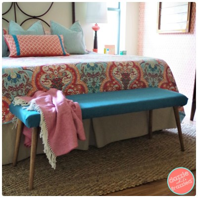 How to make a bedroom bench for $71. Easy DIY wood + fabric upholstered bench.