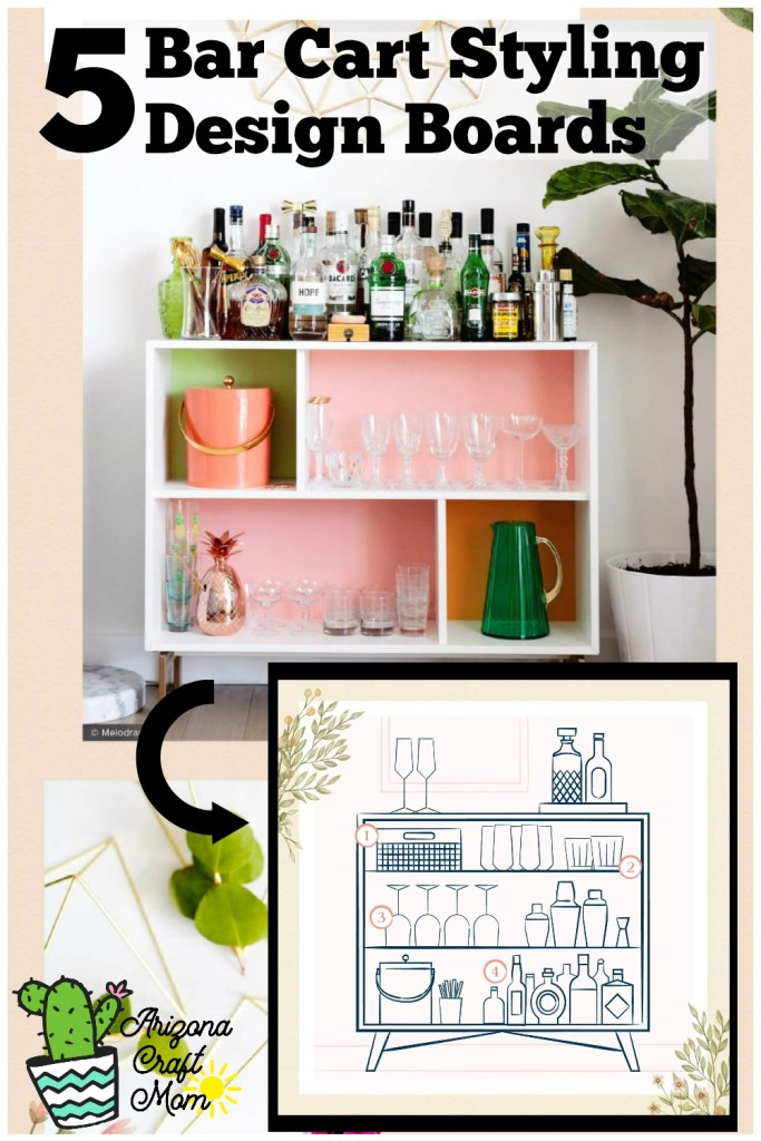5 fun ways to style a bar cart or bar dresser for cocktail hour with friends.