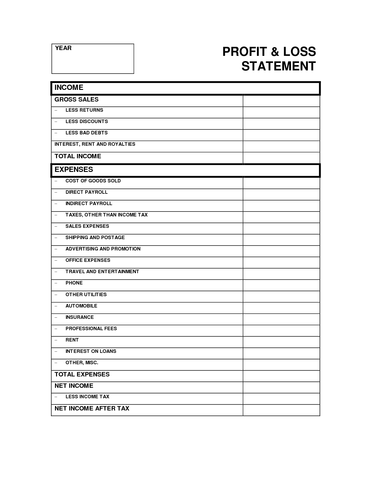 Profit And Loss Statement Template Profit Loss Spreadsheet
