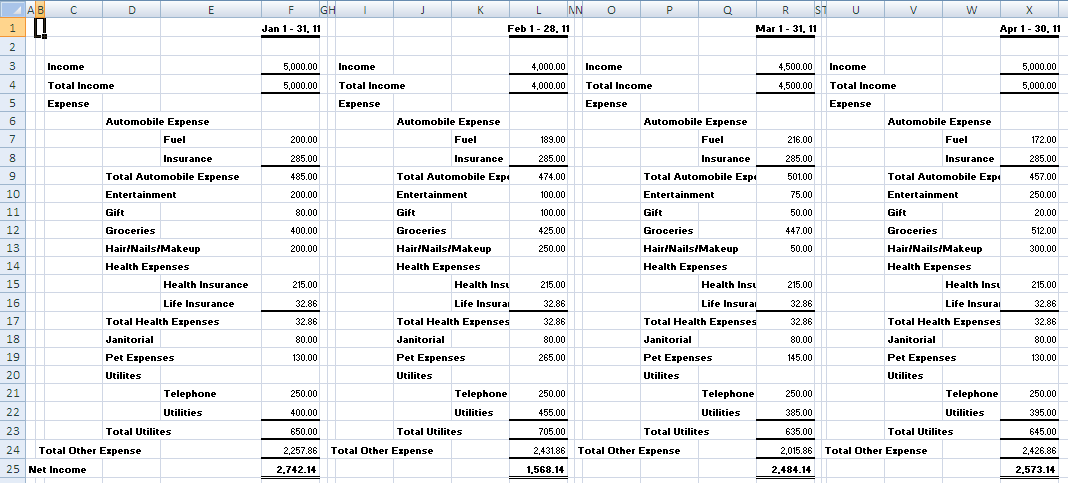 Monthly Income Statement Income Spreadsheet Spreadsheet