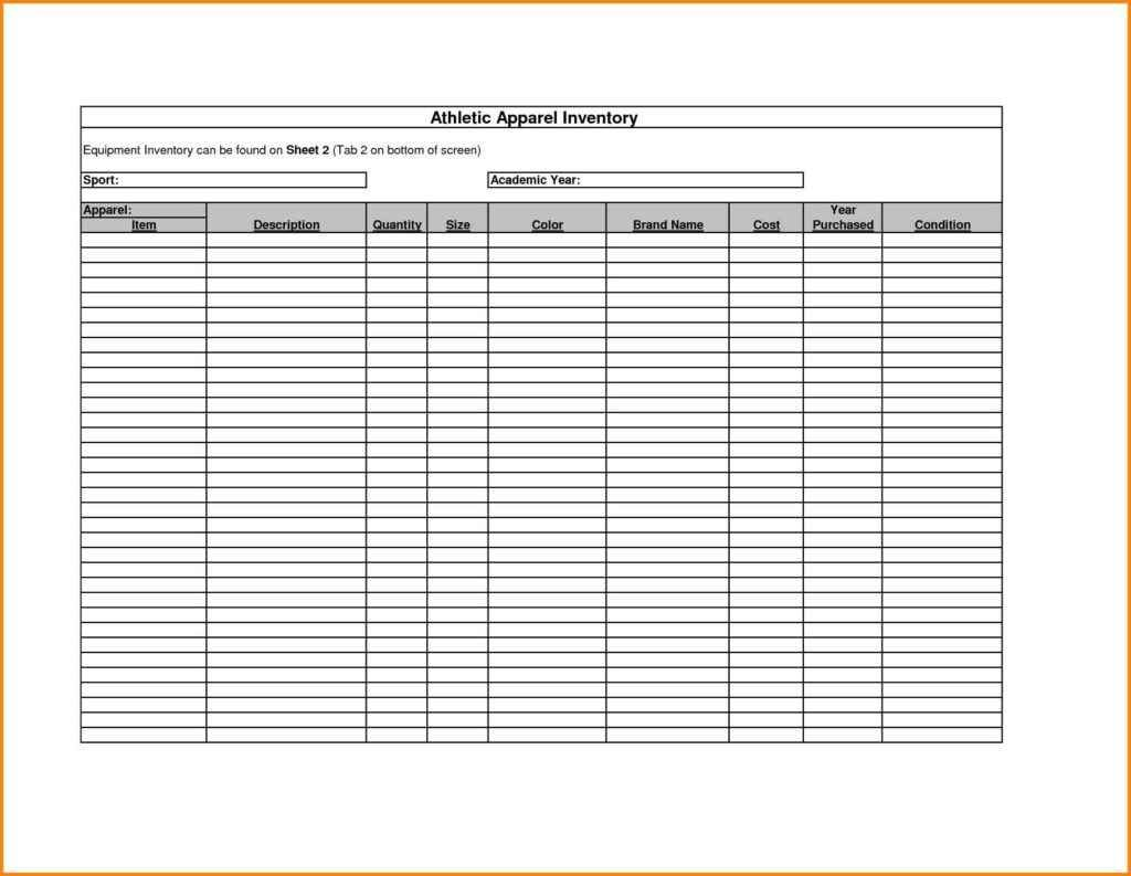 Sample Bar Inventory Spreadsheet