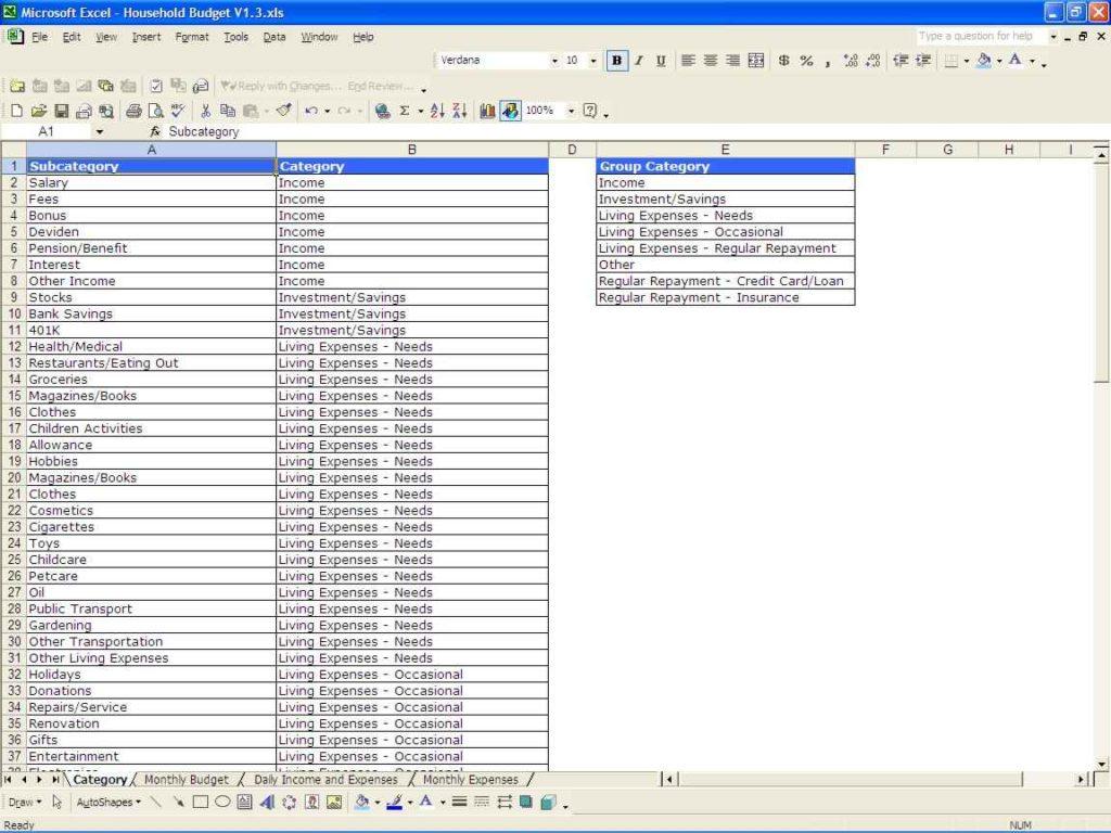 Sample Household Budget Spreadsheet Budget Spreadsheet