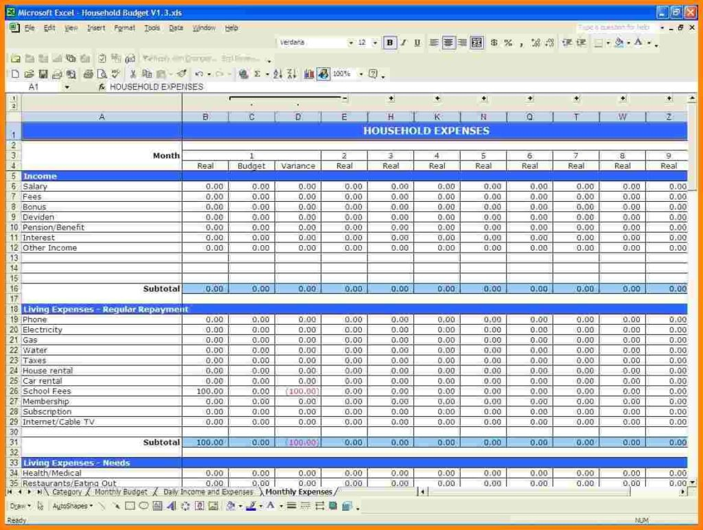 Samples Of Budget Spreadsheets Spreadsheet Templates For