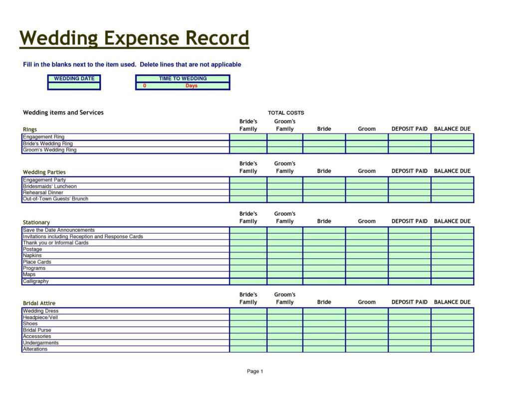 Wedding Planning Spreadsheet Template