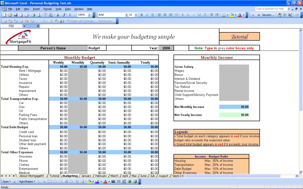 Budgeting Tool Excel