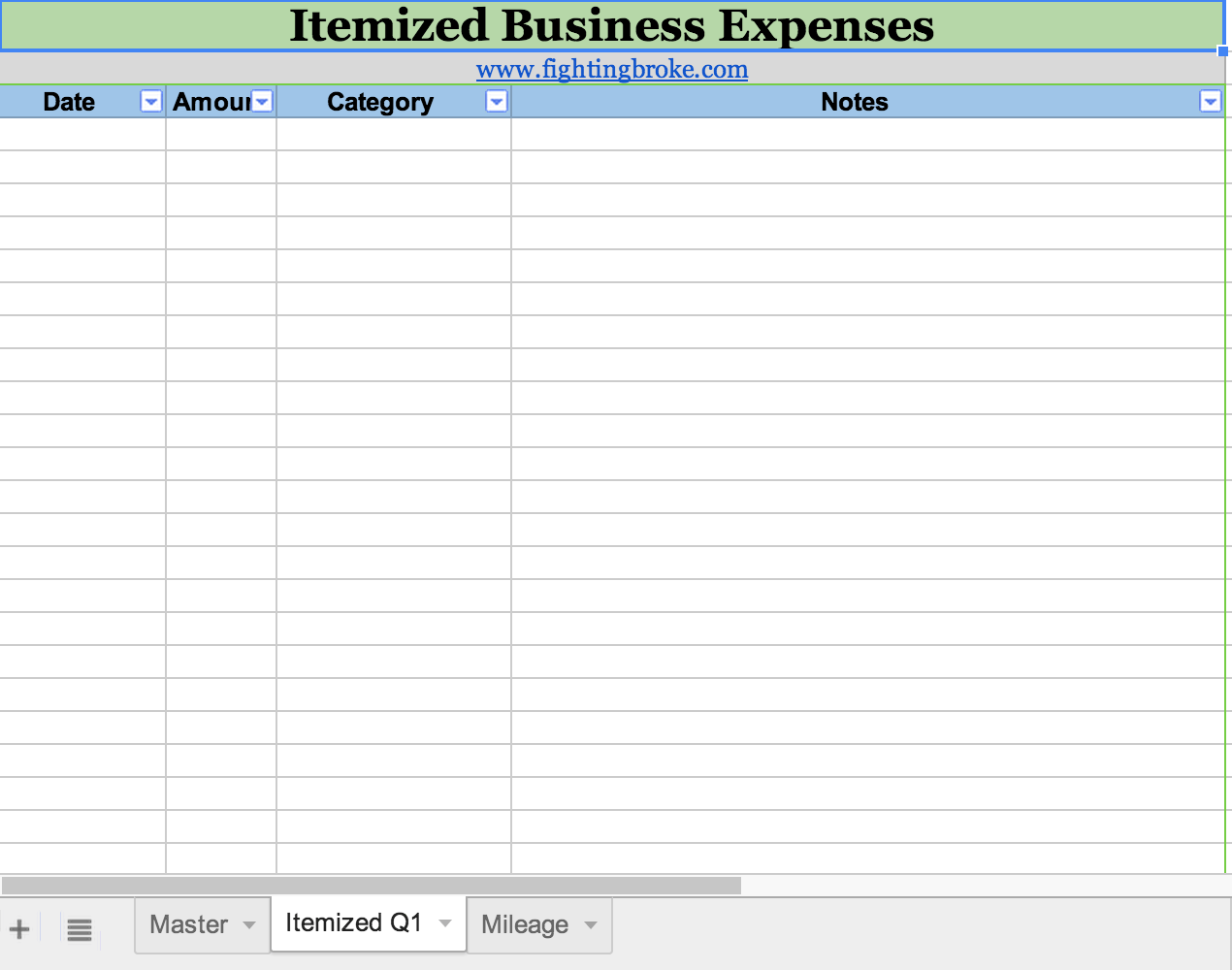 Business Expense Spreadsheet Template Free