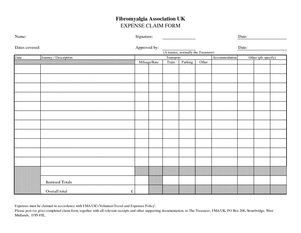 Expense Claim Form Template Microsoft Office
